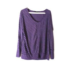 Ana striped long sleeve blouse purple and white